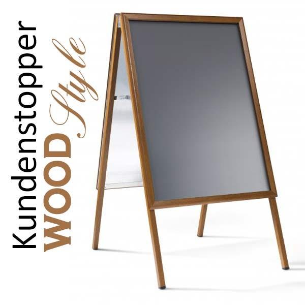 Kundenstopper Classic Holzoptik